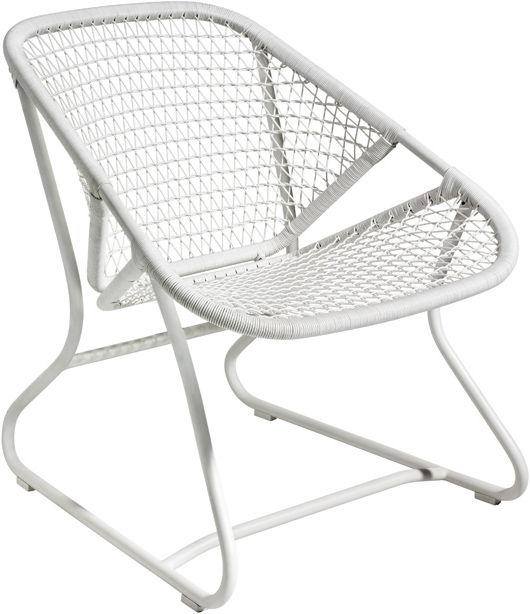 Arredamento - Poltrone design  - Poltrona bassa Sixties di Fermob - Gambe bianche / Seduta bianca - Alluminio, Materiale plastico