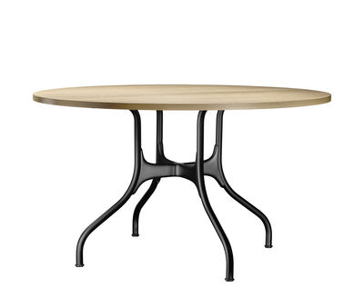 Table Ronde 130 Cm.Mila Round Table Metal Wood O 130 Cm By Magis