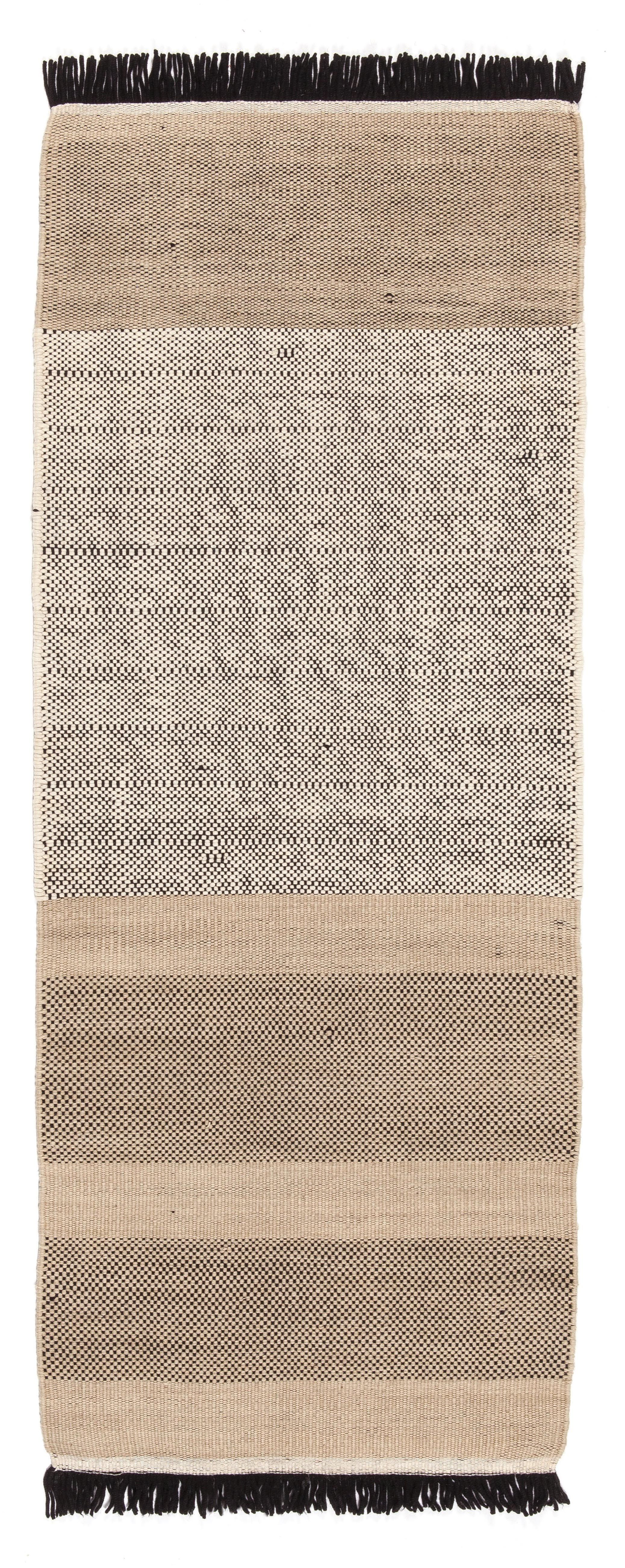 Decoration - Rugs - Tres stripes Rug - 80 x 240 cm by Nanimarquina - Black and beige - New-Zealand wool Felted wool