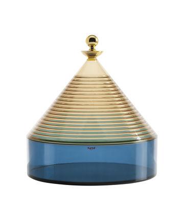 Dekoration - Schachteln und Boxen - Trullo Schachtel / Ø 25 x H 27 cm - Kartell - Blau / gelb & Gold - Technoplymer