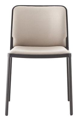 Arredamento - Sedie  - Sedia imbottita Audrey Soft - / seduta in tessuto - Struttura laccata di Kartell - Struttura: nera/ Seduta: tessuto beige - Alluminio laccato, Tessuto