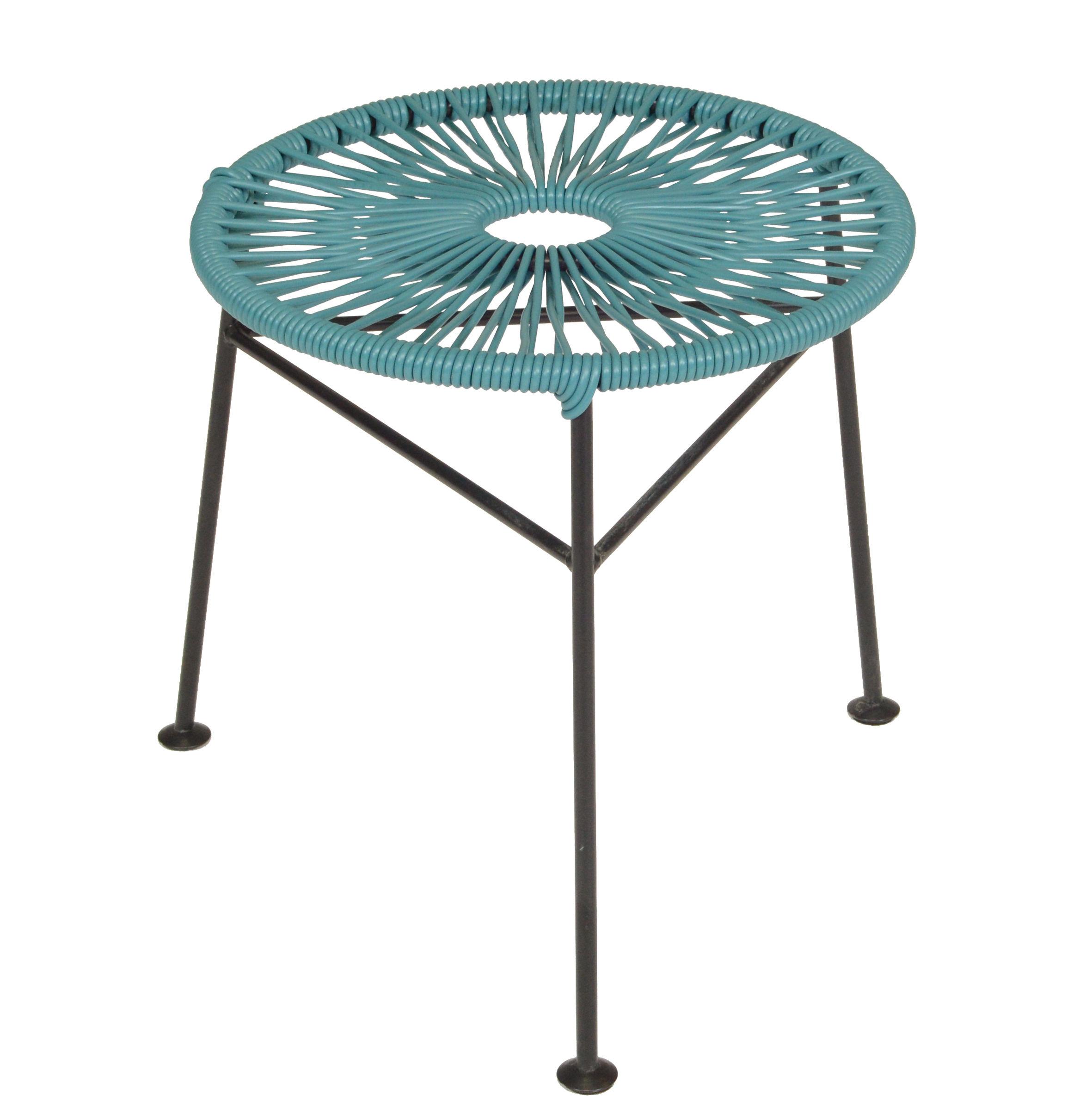 Arredamento - Sgabelli - Sgabello impilabile Centro - / Poggiapiedi di OK Design pour Sentou Edition - Blu petrolio - Acciaio laccato, Materiale plastico
