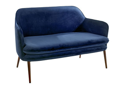 Furniture - Sofas - Charmy Straight sofa - L 128 cm by Pols Potten - Blue velvet - Foam, Lacquered steel, Velvet