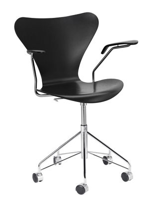 Furniture - Office Chairs - Série 7 Swivel armchair - Stained  ash by Fritz Hansen - Black / Chromed base - Chromed steel, Plywood: tinted ash