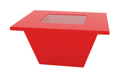 Table basse Bench / Plateau en verre - Slide rouge en verre