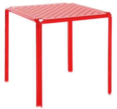 Table de jardin Ami Ami / 70 x 70 cm - Kartell rouge brillant en métal