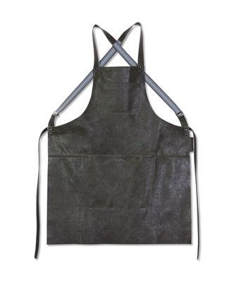 Tablier cuir / Bretelles croisées - Dutchdeluxes gris vintage en cuir
