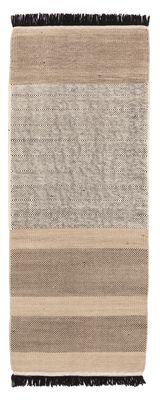 Tapis Tres stripes / 80 x 240 cm - Nanimarquina noir,crème en tissu