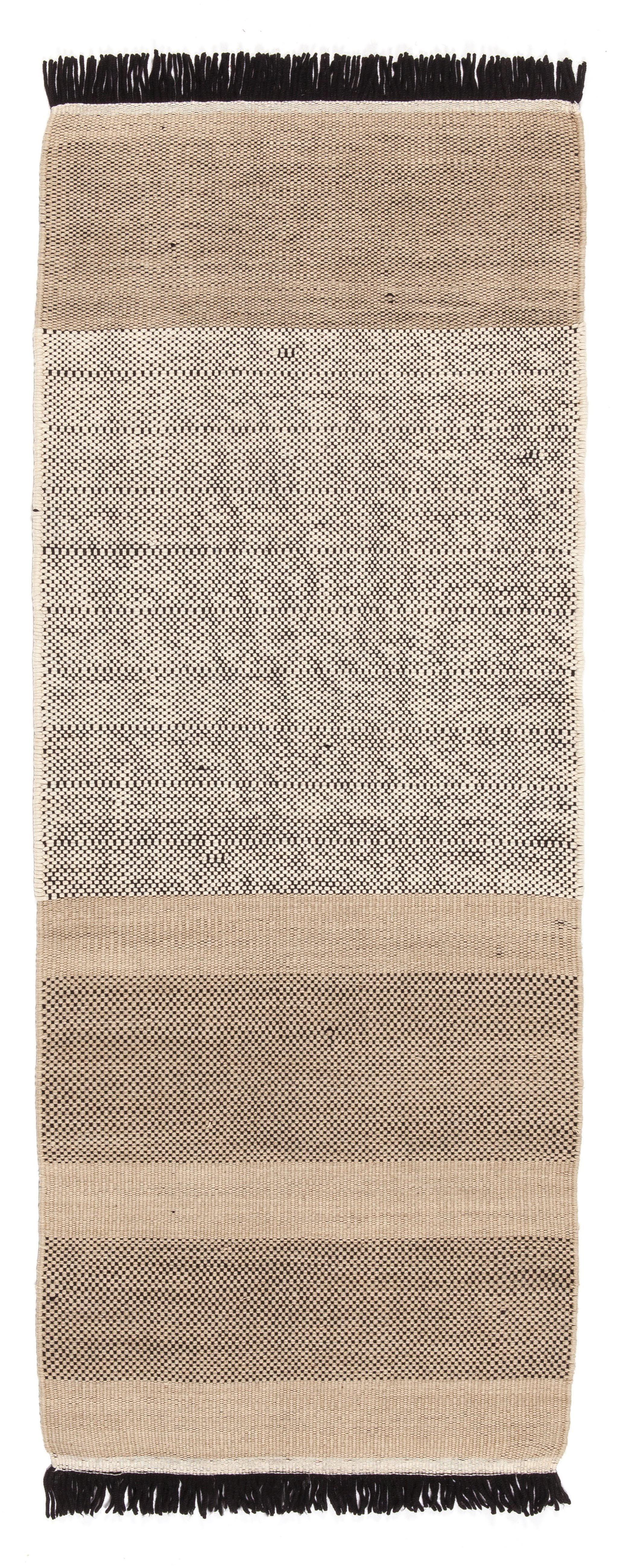 Déco - Tapis - Tapis Tres stripes / 80 x 240 cm - Nanimarquina - Noir et crème - Laine de Nouvelle-Zélande - Feutre de laine