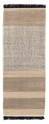 Dekoration - Teppiche - Tres stripes Teppich / 80 x 240 cm - Nanimarquina - Schwarz & cremefarben - Neuseeländische Wolle - Wollfilz