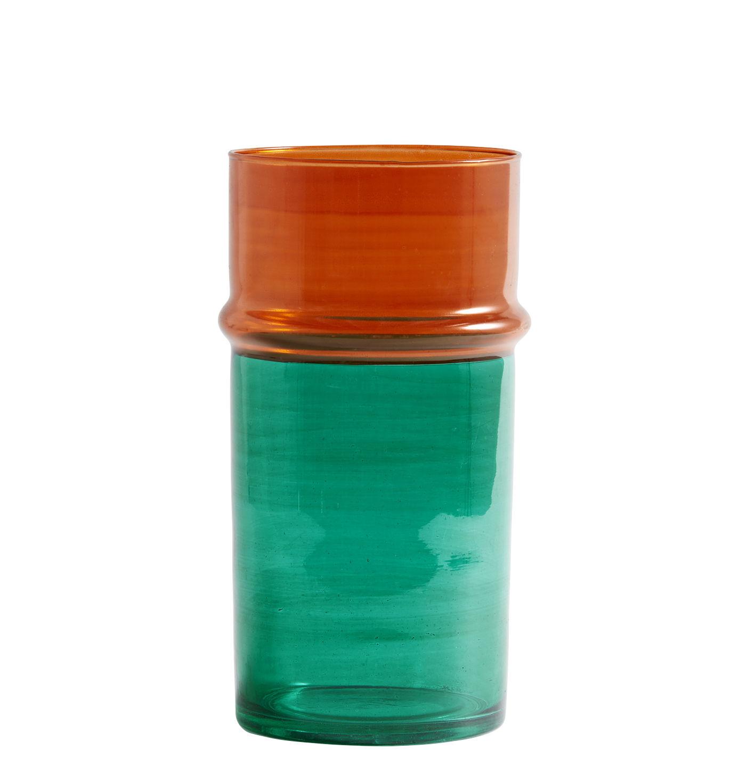 Déco - Vases - Vase Moroccan Large / Ø 14 x H 29 cm - Hay - Vert & orange - Verre soufflé