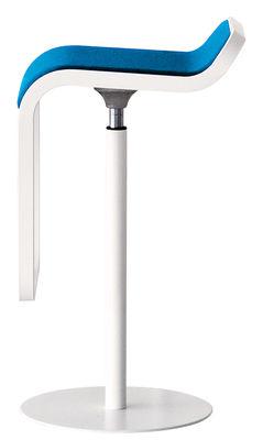 Furniture - Bar Stools - Lem Adjustable bar stool - Fabric pivoting seat by Lapalma - Lacquered white structure / Blue fabric seat - Fabric, Lacquered metal