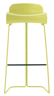 Furniture - Bar Stools - BCN Bar stool - H 76 cm by Kristalia - Yellow - PBT plastic, Varnished steel