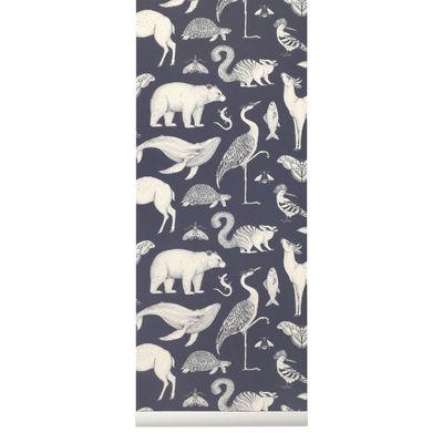 Interni - Sticker - Carta da parati Animals - / 1 rotolo - Larg 53 cm di Ferm Living - Blu scuro & Bianco - Tessuto non tessuto