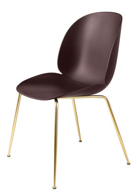 Furniture - Chairs - Beetle Chair - / Gamfratesi - Plastic by Gubi - Burgundy / Brass legs - Brass plated steel, Polypropylene