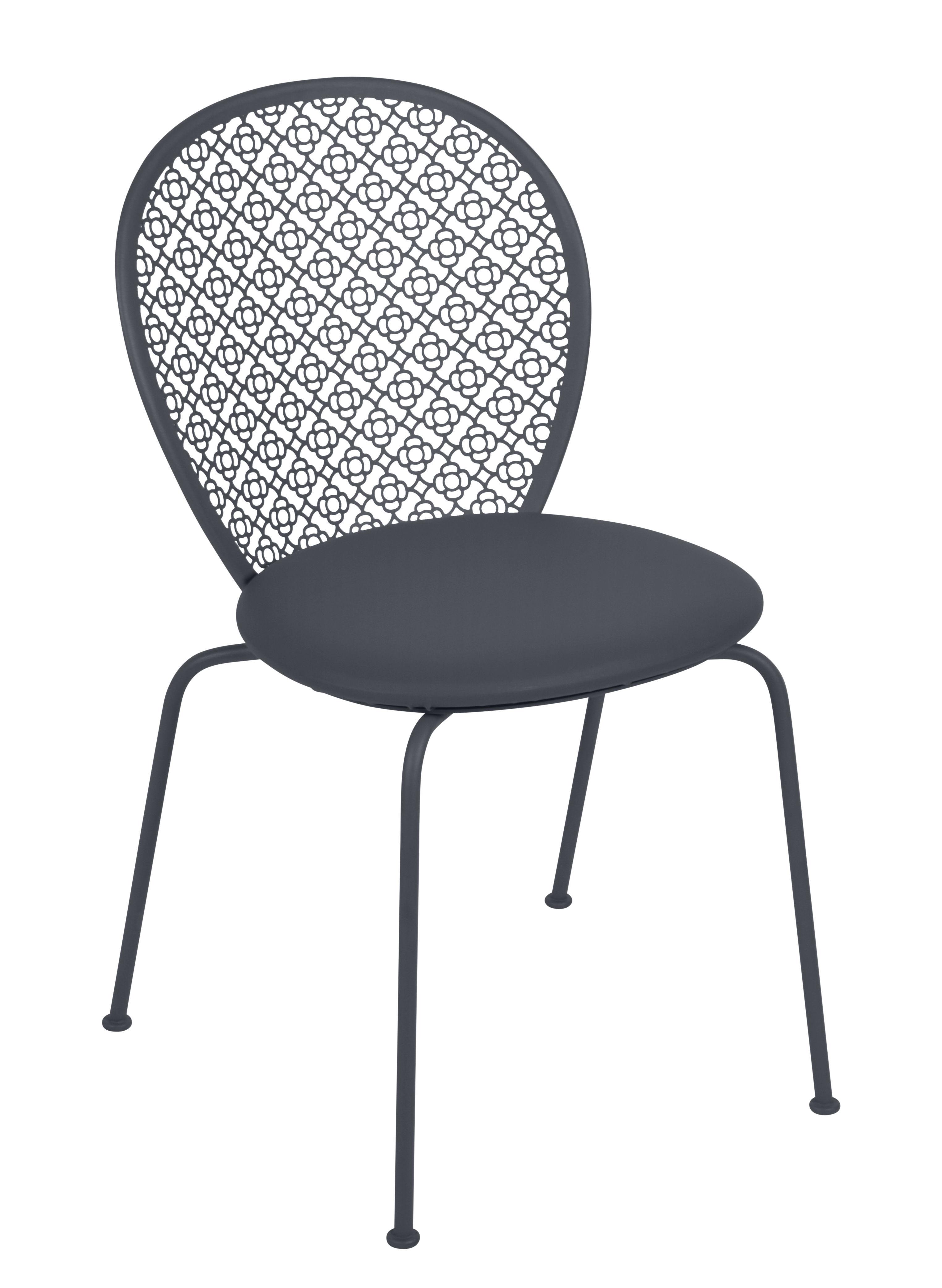 Mobilier - Chaises, fauteuils de salle à manger - Chaise empilable Lorette / Assise rembourrée - Fermob - Carbone - Acier laqué, Mousse polyuréthane, Similicuir Skaï®