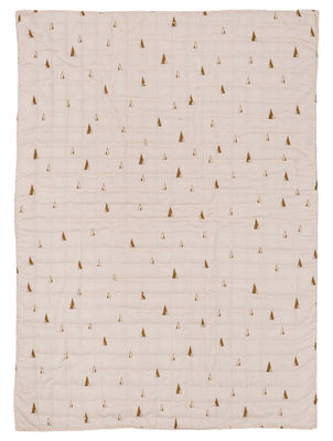 Decoration - Children's Home Accessories - Cone Children blanket - Quilted - 100 x 70 cm by Ferm Living - Yellow patterns / Pink - Fabric, Polyester