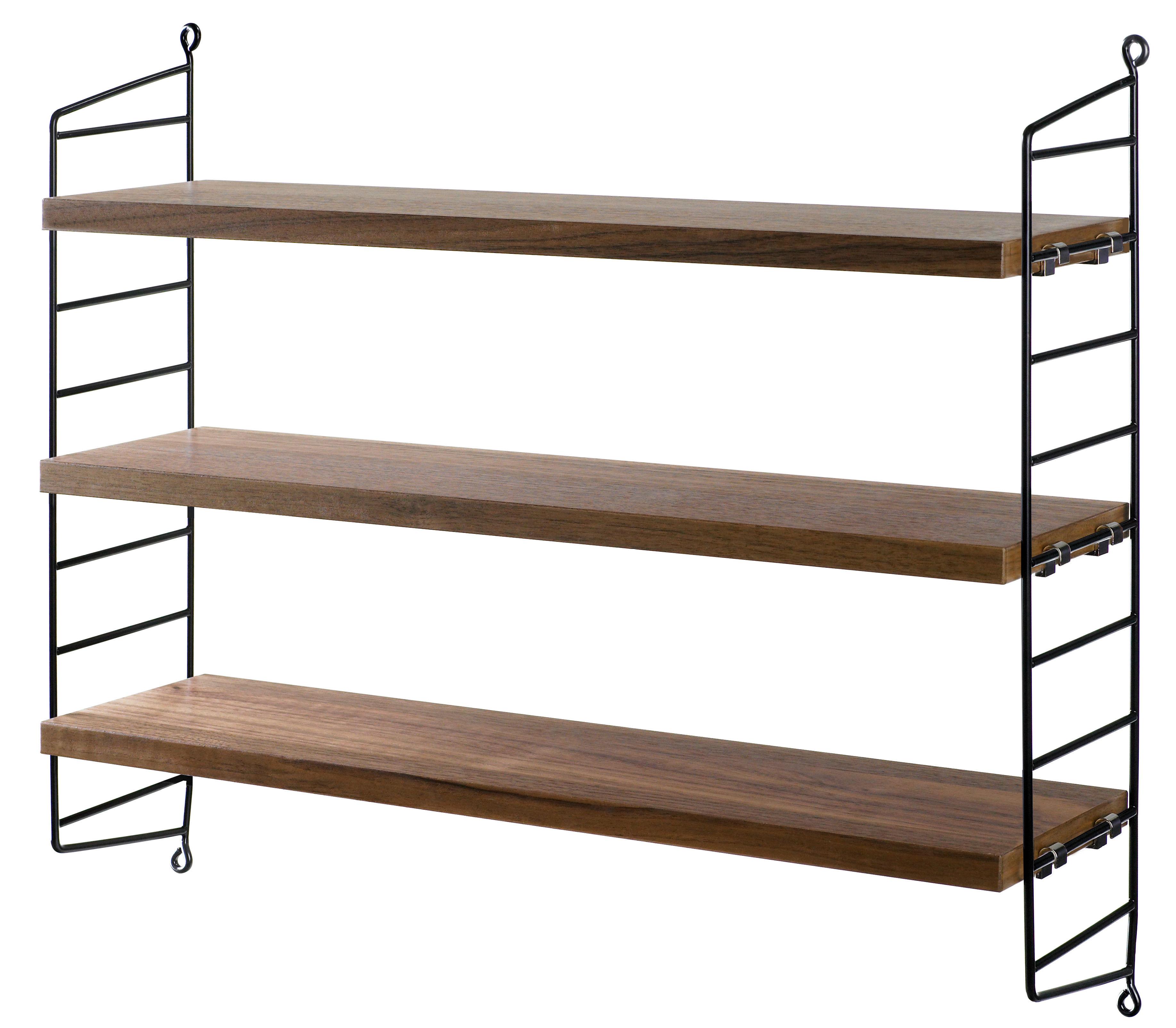 Mobilier - Etagères & bibliothèques - Etagère String Pocket / Bois - L 60 x H 50 cm - String Furniture - Noyer / Montants noirs - Acier laqué, Aggloméré plaqué noyer