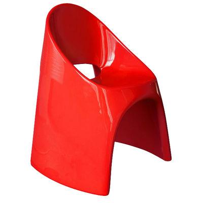 Fauteuil empilable Amélie / Plastique laqué - Slide laqué rouge en matière plastique