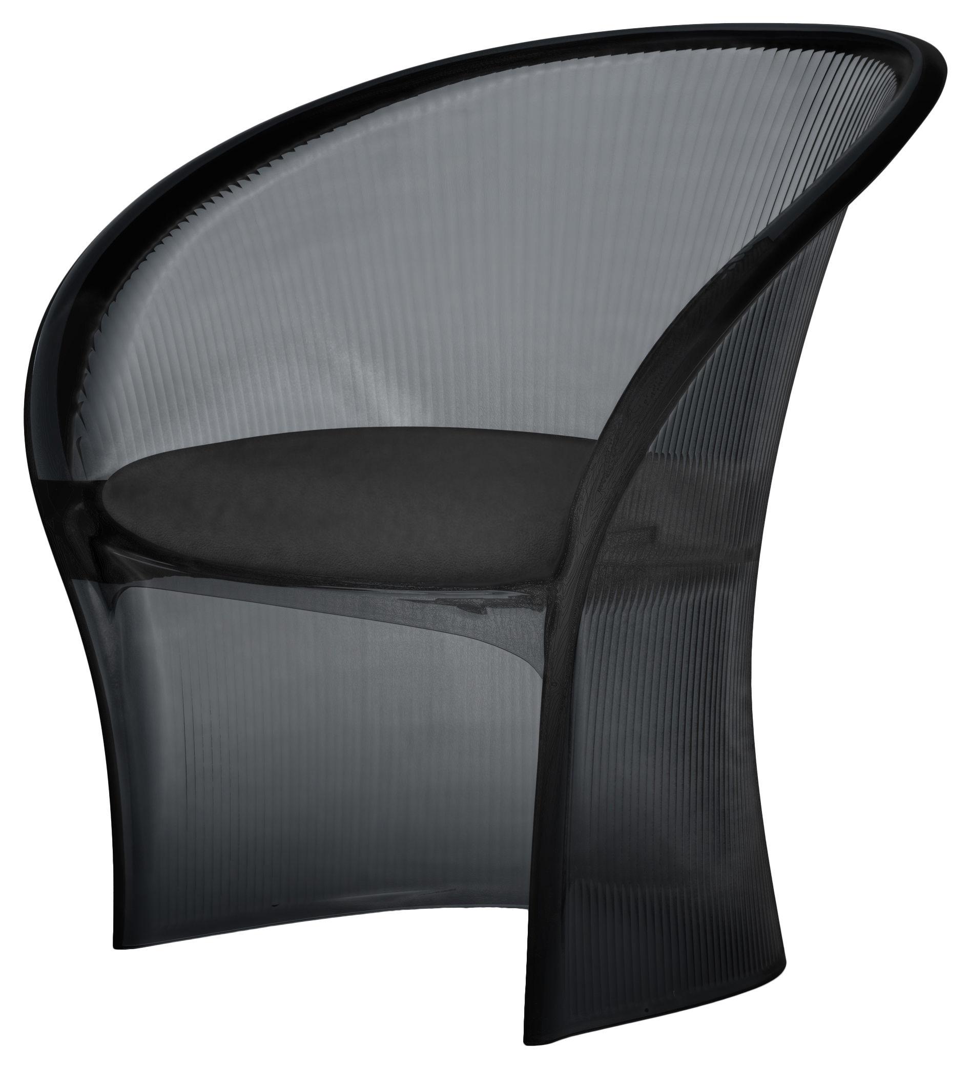 Mobilier - Mobilier d'exception - Fauteuil Flower / Structure fumé - Coussin cuir - Magis - Fumé / Coussin cuir noir - Cuir, Polycarbonate