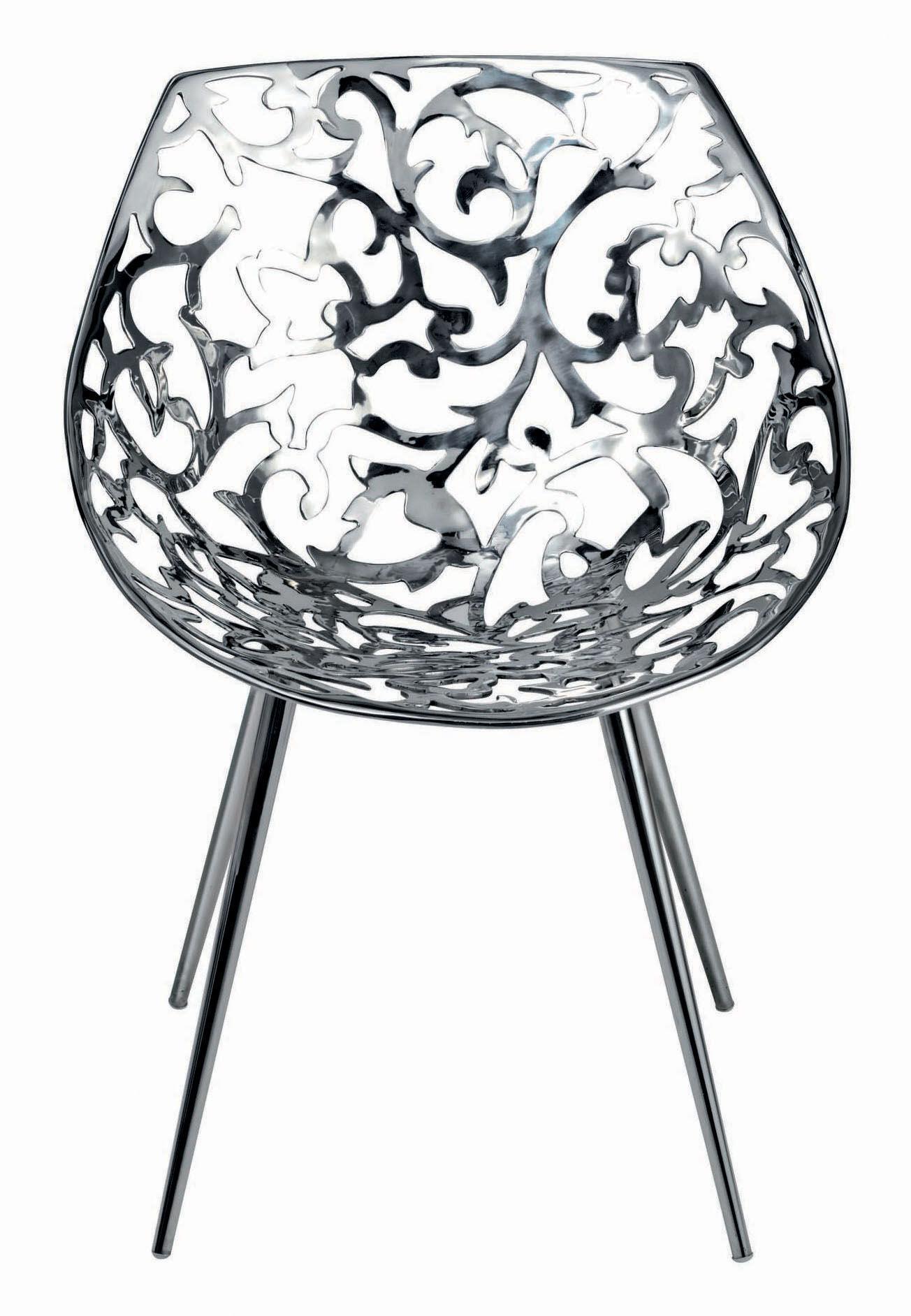 Mobilier - Chaises, fauteuils de salle à manger - Fauteuil Miss Lacy / Acier poli - Driade - Acier - Acier poli