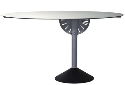Trends - Take your seat! - Psiche Foldable table by Driade - Mirror / Dark grey leg - Aluminium, Cast iron, Glass
