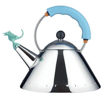 Kitchenware - Kettles & Teapots - Tea Rex Kettle - 30th birthday edition by Alessi - Light blue handle - Plastic, Stainless steel