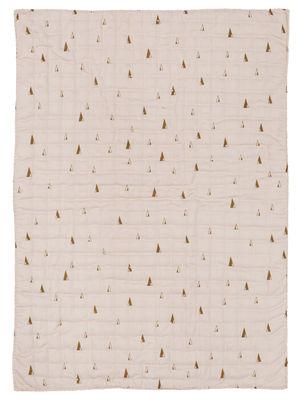 Dekoration - Für Kinder - Cone Kinderdecke / gesteppt - 100 x 70 cm - Ferm Living - Gelbe Motive auf rosafarbenem Grund - Gewebe, Polyesterfaser