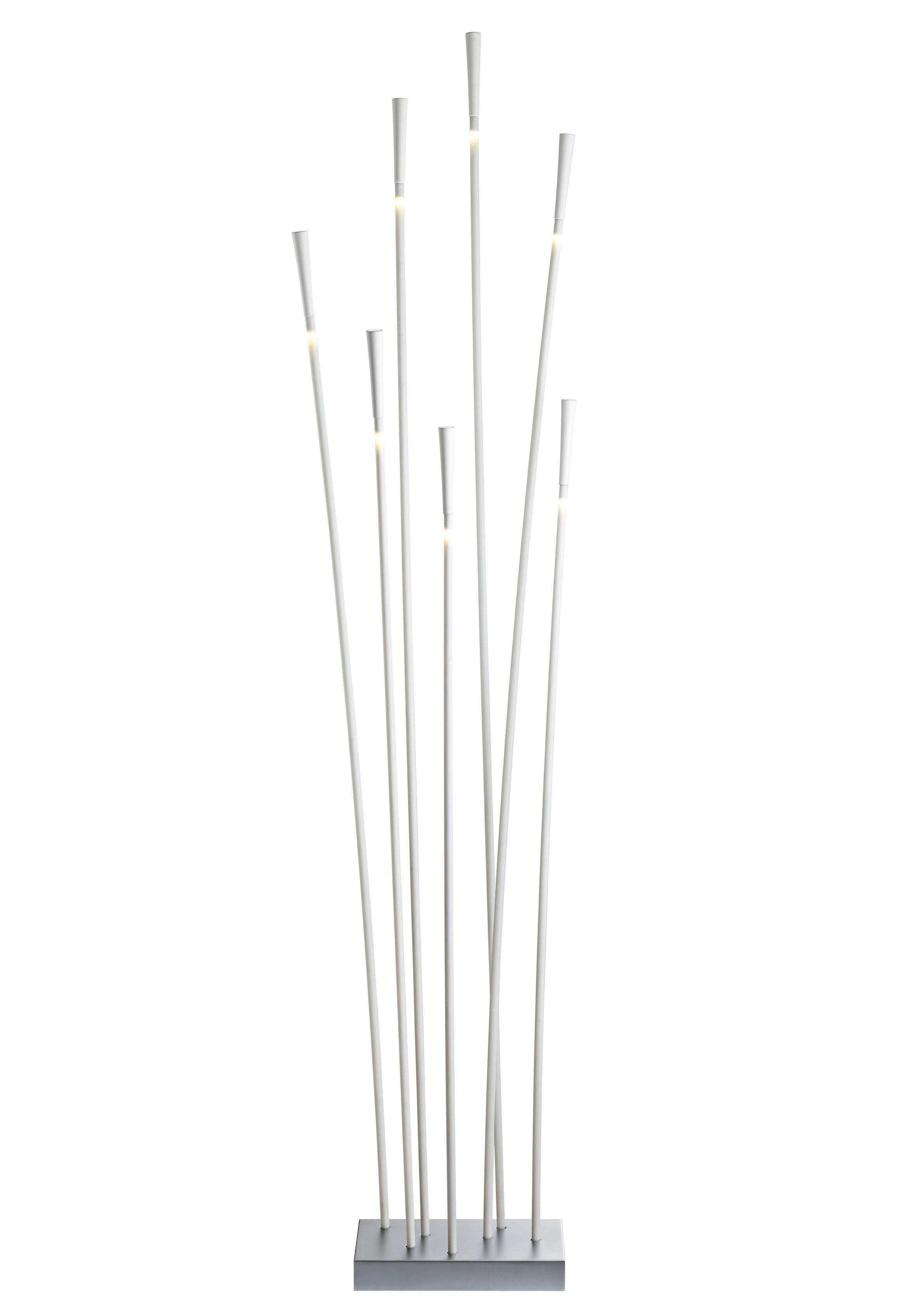 Luminaire - Lampadaires - Lampadaire Giunco 7 tiges LED - Fabbian - Blanc - Fibre de verre, Matière plastique, Métal peint