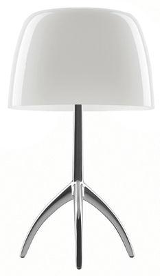 Lampe de table Lumière Grande / Variateur - H 45 cm - Foscarini alu poli,blanc chaud en métal