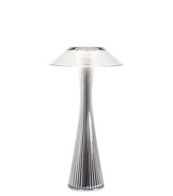 Lampe de table Space / LED - Rechargeable - Kartell chromé en matière plastique