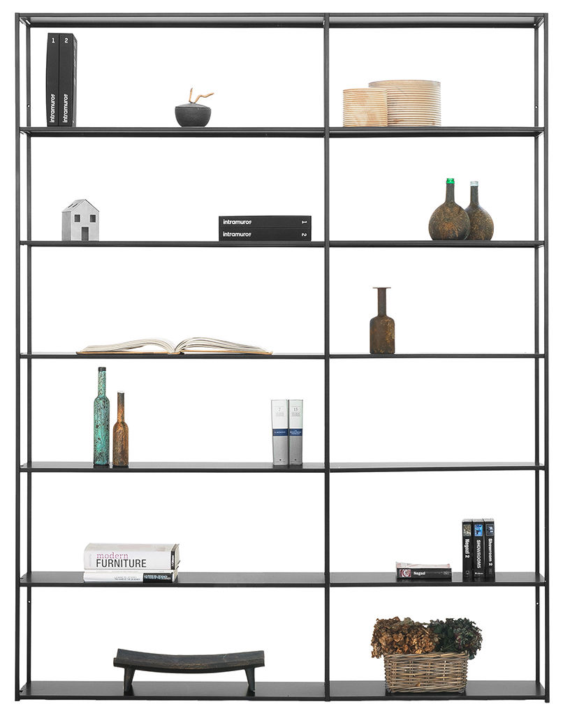 Arredamento - Scaffali e librerie - Libreria Easy Irony / L 178 x H 226 cm - Zeus - Nero ramato - Acciaio verniciato