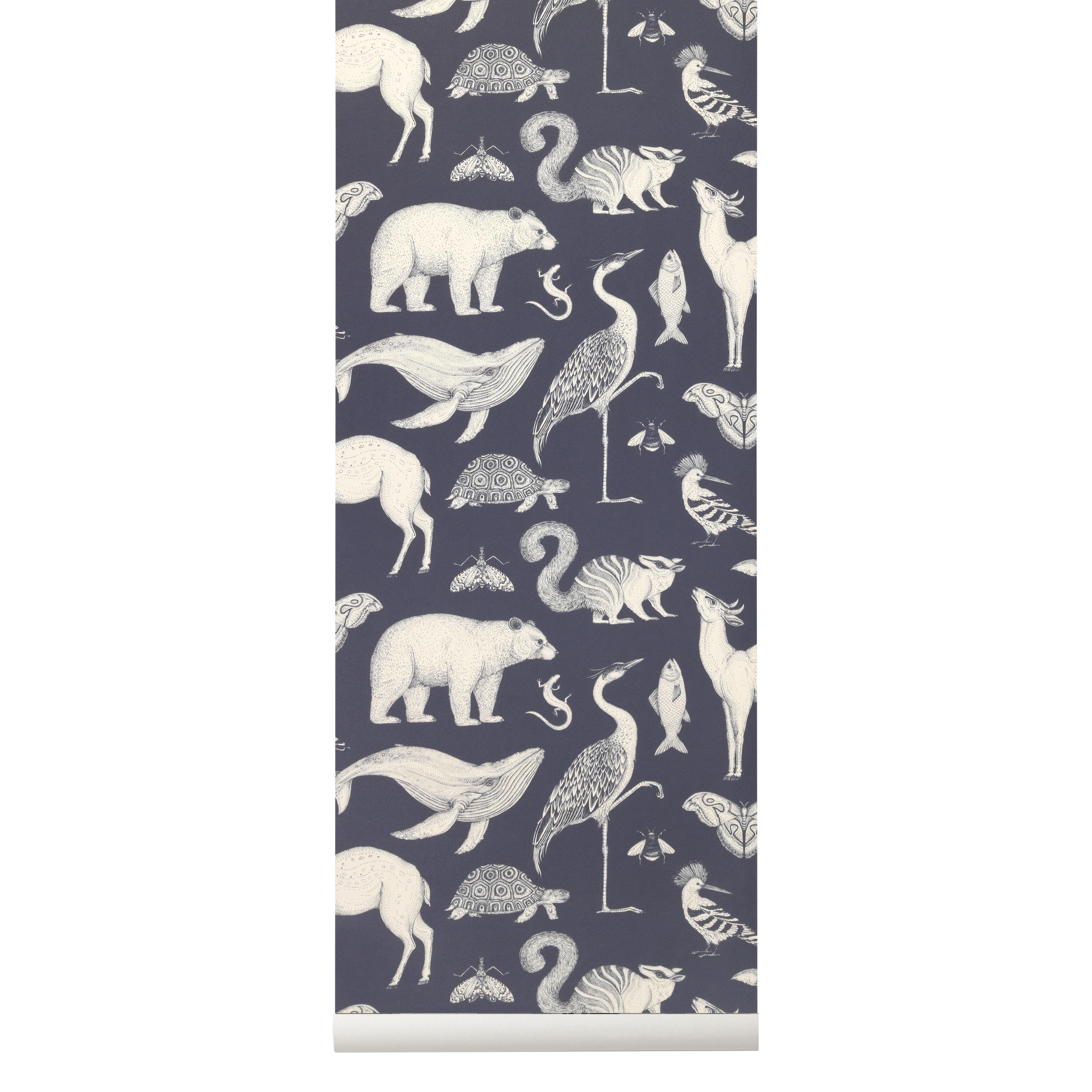 Déco - Stickers, papiers peints & posters - Papier peint Animals / 1 rouleau - Larg 53 cm - Ferm Living - Bleu foncé & blanc - Toile intissée