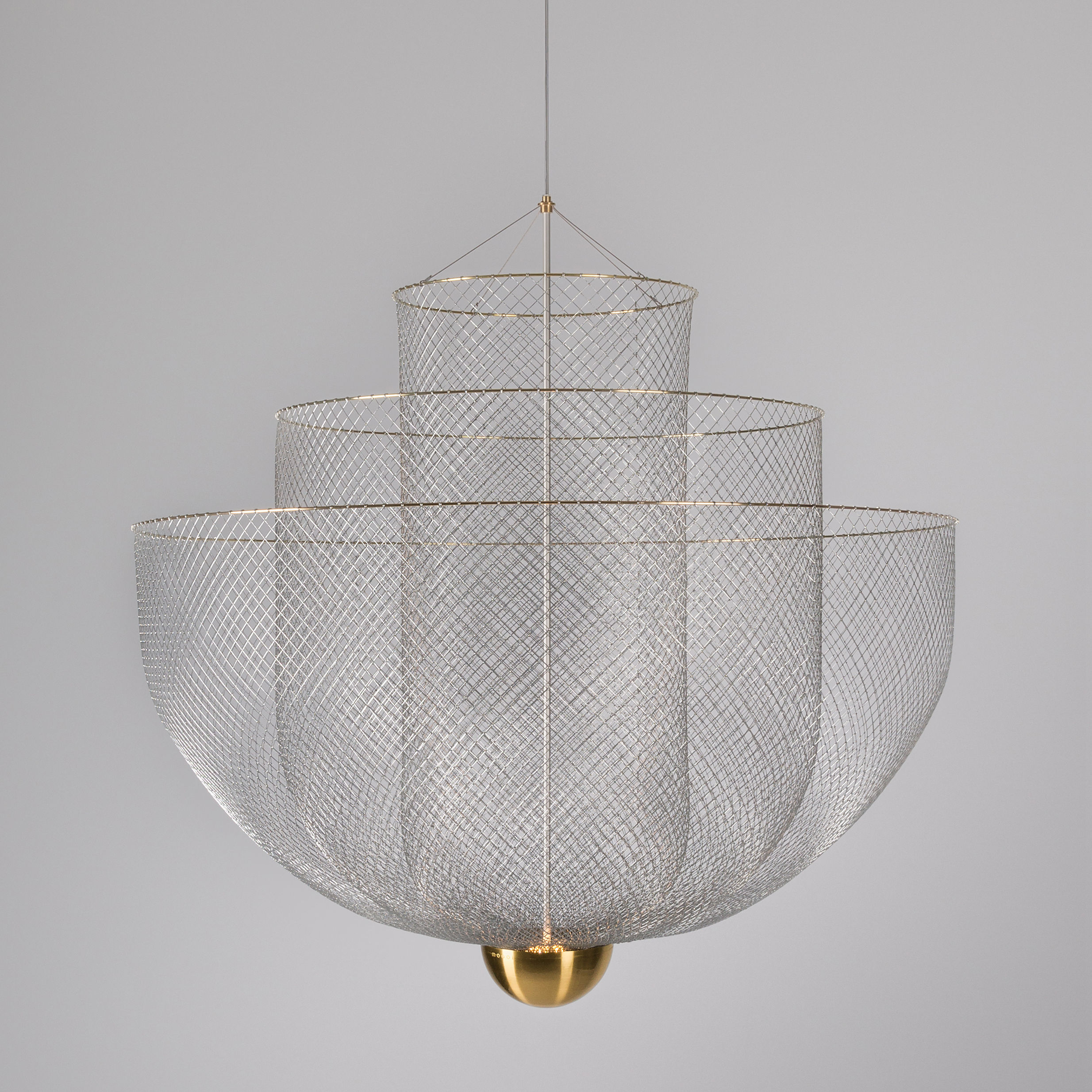 Lighting - Pendant Lighting - Meshmatics LED Pendant - / Ø 90 cm - Steel mesh by Moooi - Steel & brass - Brass, Grillage d'acier galvanisé