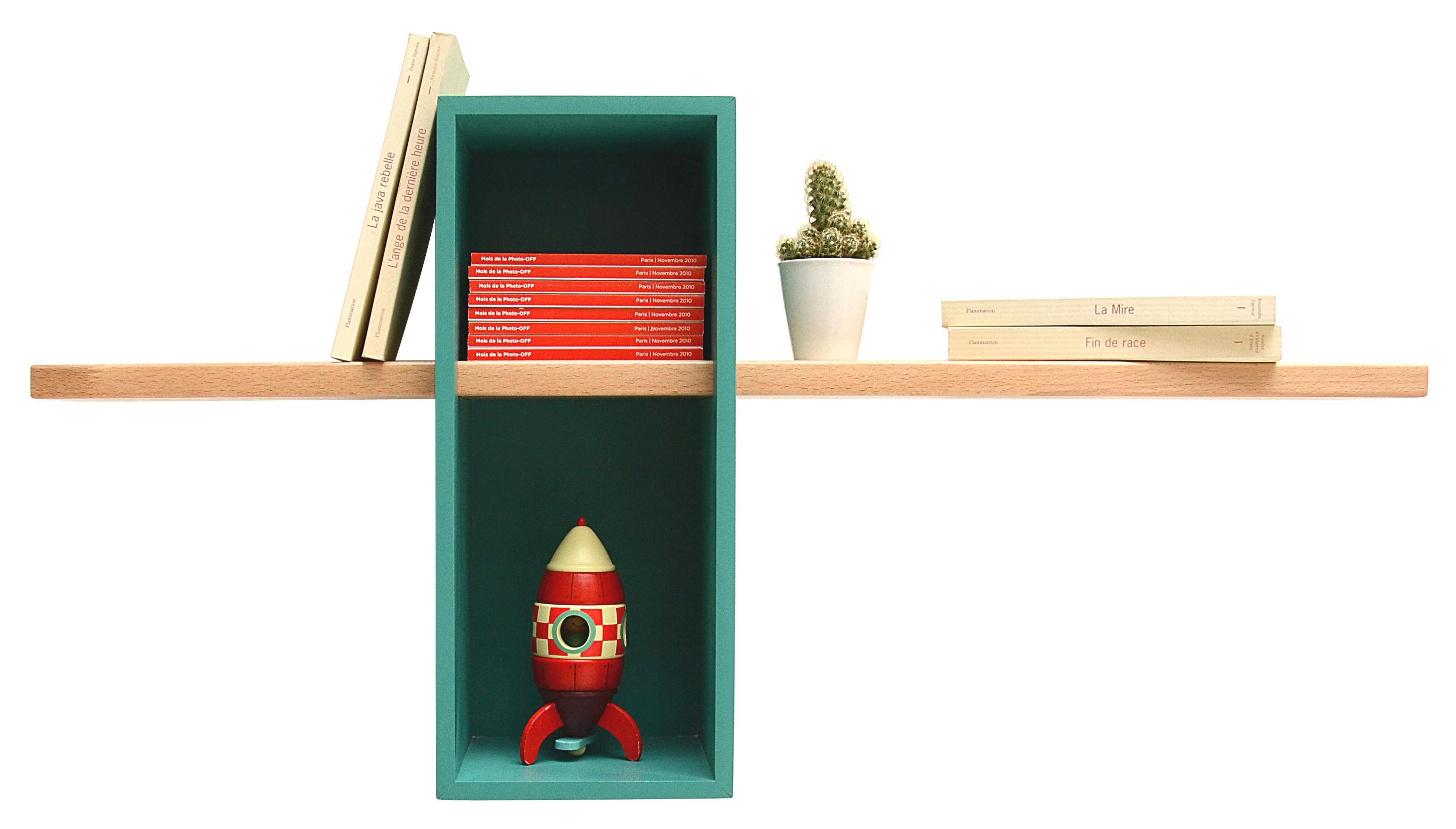 Arredamento - Scaffali e librerie - Scaffale Max - /Semplice - 1 scatola + 1 scaffale di Compagnie - Turchese menta - Faggio, MDF tinto