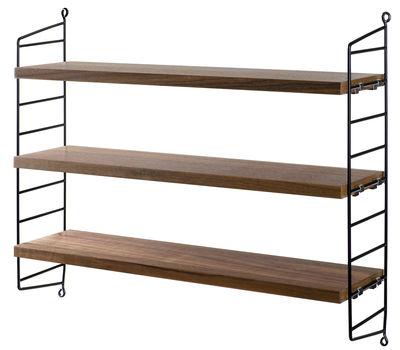 Arredamento - Scaffali e librerie - Scaffale String® Pocket - / Versione legno - L 60 x H 50 cm di String Furniture - Noce / Montanti neri - Acciaio laccato, Tamburato impiallacciato in noce