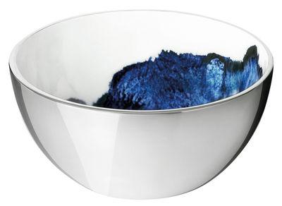 Tischkultur - Salatschüsseln und Schalen - Stockholm Aquatic Schale / Ø 10 cm x H 5 cm - Stelton - Außenseite metallfarben / Innenseite weiß & blau - Aluminium, emaillierte Keramik