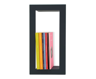 Furniture - Bookcases & Bookshelves - Highstick Shelf - Lacquered sheet metal - 19 x 36 cm by Presse citron - Slate - Lacquered steel