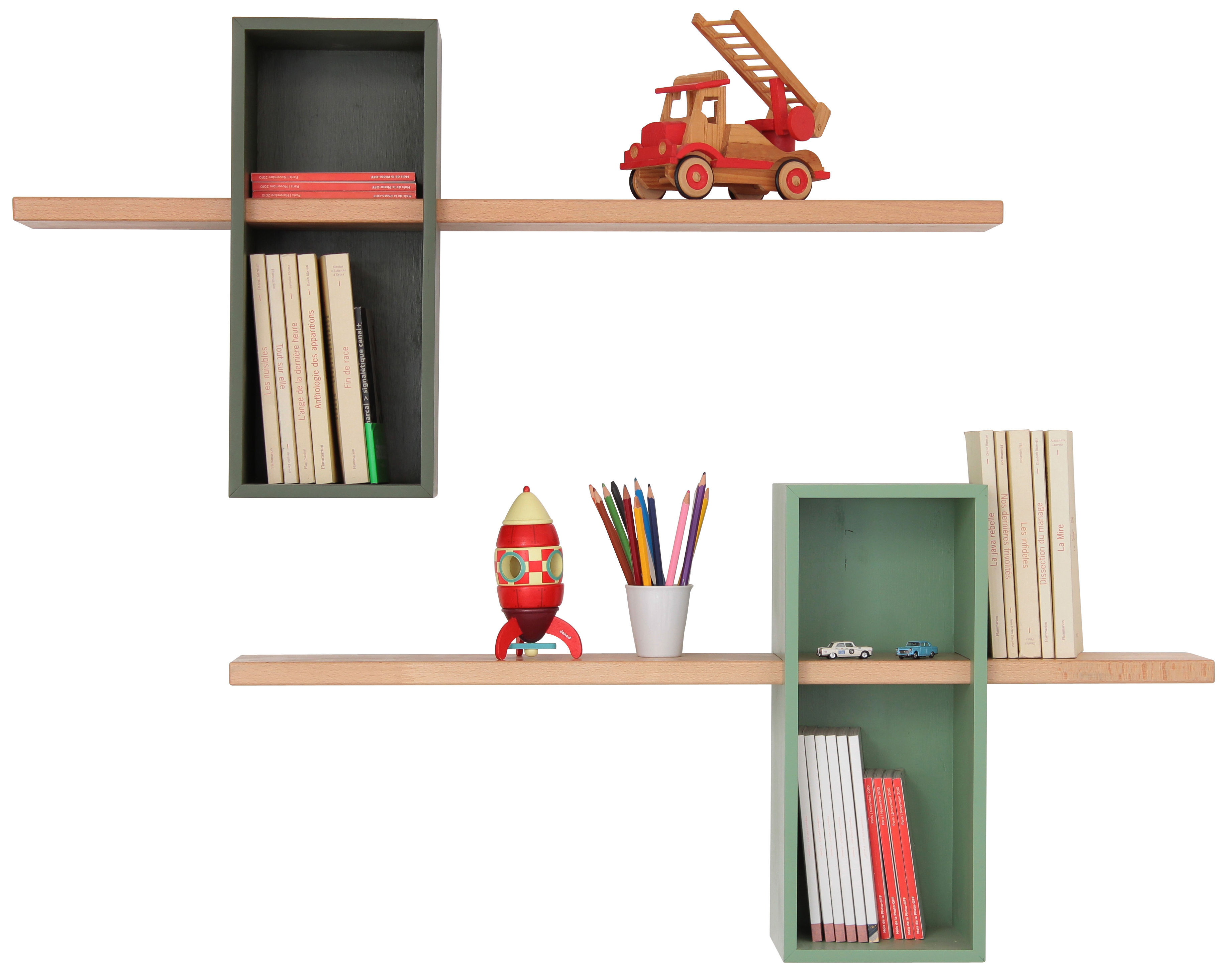 Furniture - Bookcases & Bookshelves - Max XL Shelf - Simple - 2 boxes + 2 shelves by Compagnie - Olive green / Light green - Natural beechwood, Painted MDF