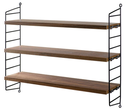 Furniture - Bookcases & Bookshelves - String Pocket Shelf - / Wooden version - L 60 x H 50 cm by String Furniture - Walnut / Black uprights - Lacquered steel, Walnut plywood