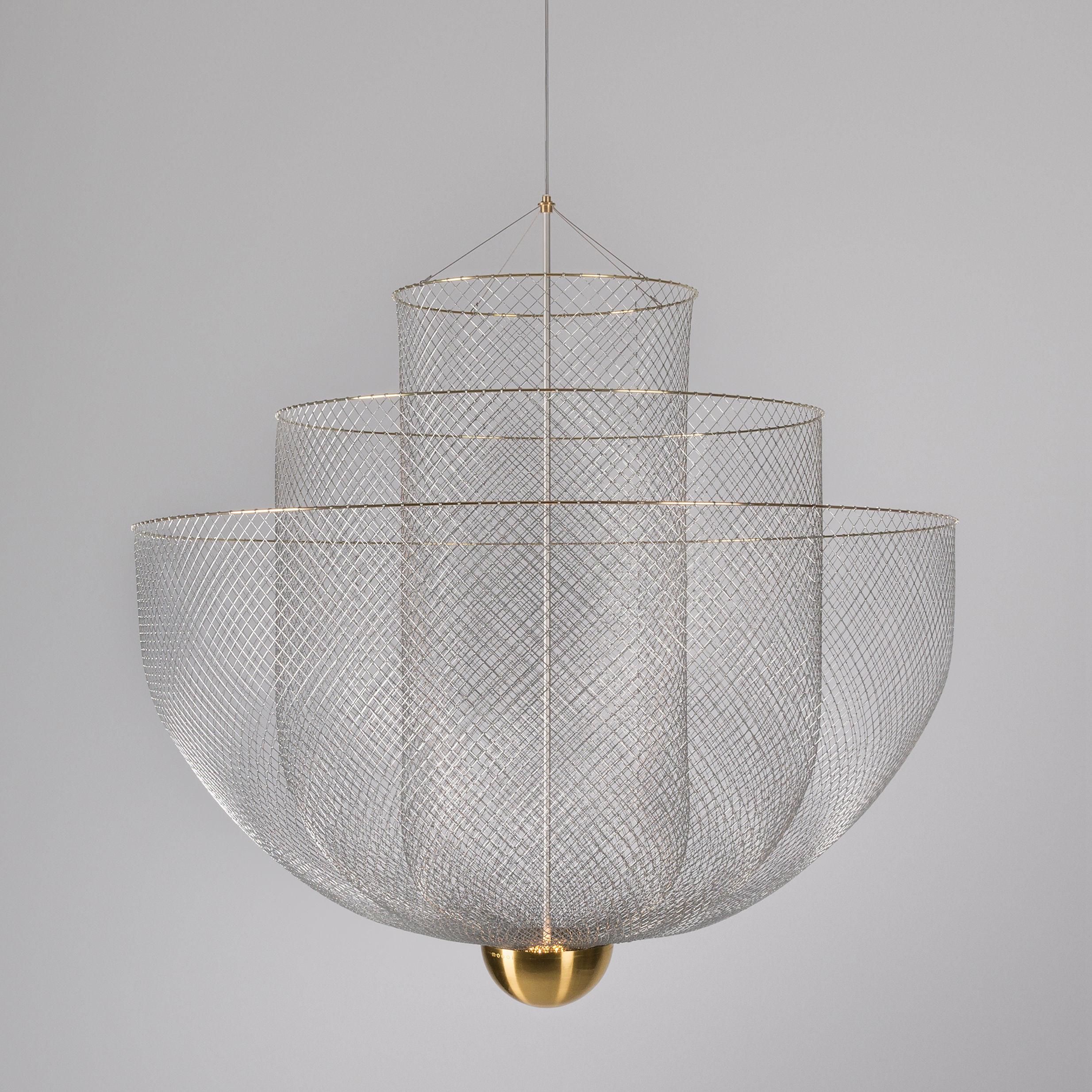 Illuminazione - Lampadari - Sospensione Meshmatics Large LED - / Ø 90 cm - Griglia d'acciaio di Moooi - Acciaio & ottone - Grillage d'acier galvanisé, Ottone