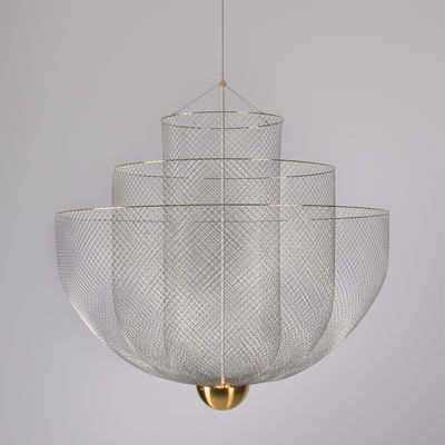 Illuminazione - Lampadari - Sospensione Meshmatics LED - / Ø 90 cm - Griglia d'acciaio di Moooi - Acciaio & ottone - Grillage d'acier galvanisé, Ottone