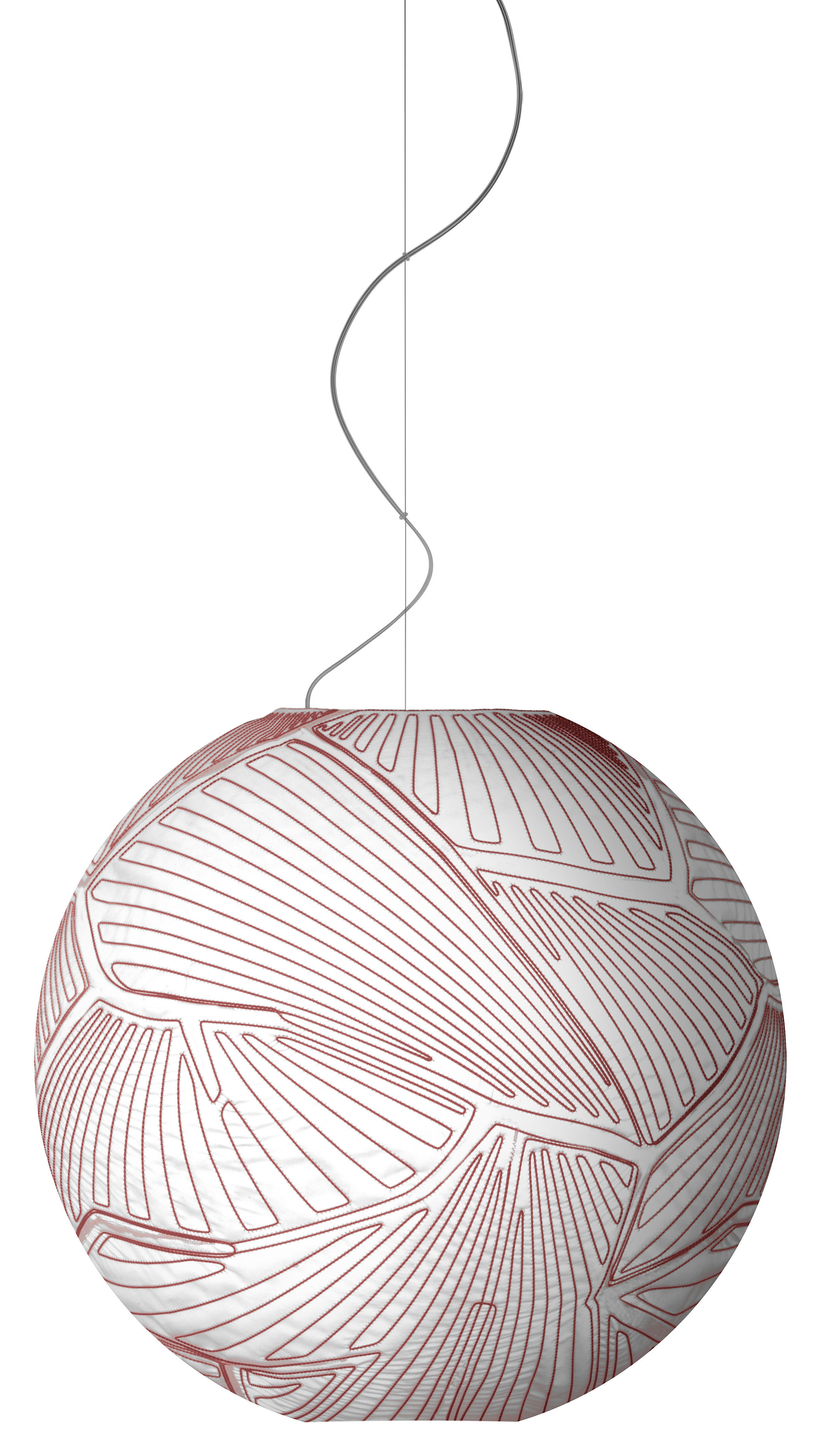Illuminazione - Lampadari - Sospensione Planet Large - Grande Ø 80 cm - Fonte alogena di Foscarini - versione alogena - Bianco/ Cuciture Rosse - Tessuto