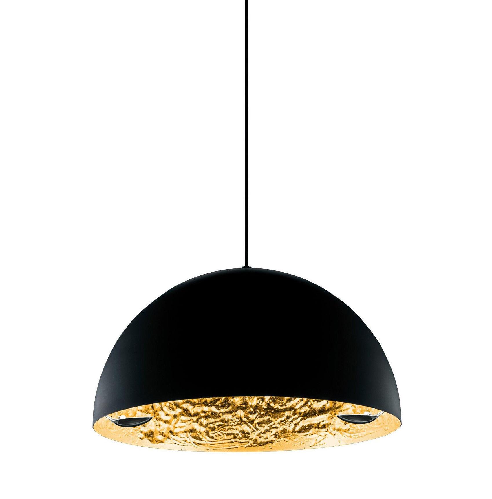 Illuminazione - Lampadari - Sospensione Stchu-moon 02 - Ø 60 cm di Catellani & Smith - Esterno nero / Interno oro - Alluminio, Foglio dorato, Schiuma di poliuretano