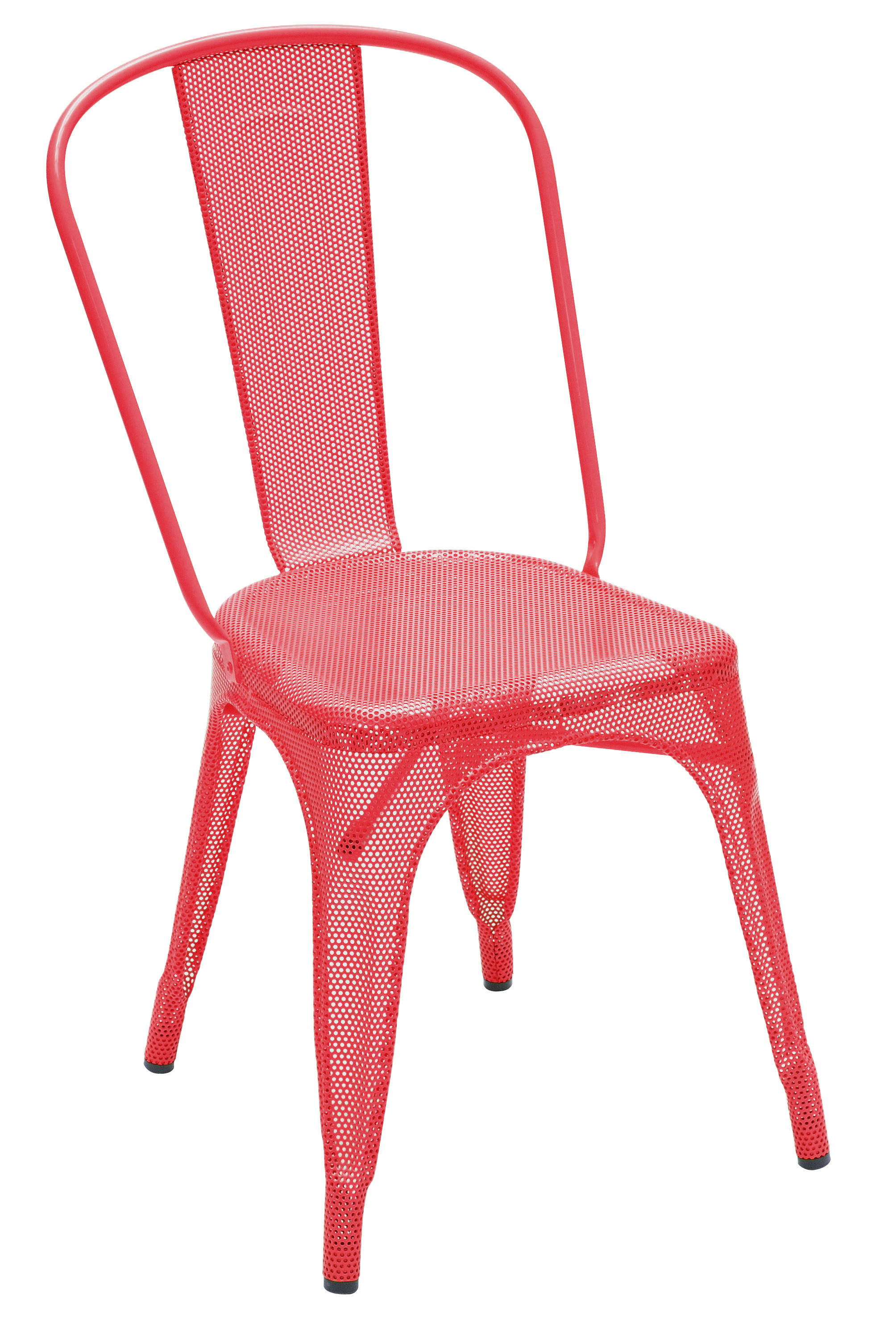 Furniture - Chairs - A Stacking chair - Punched steel- Glossy colour by Tolix - Red - Lacquered stainless steel