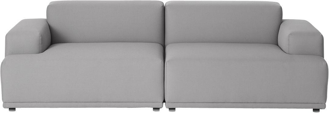 Furniture - Sofas - Connect Straight sofa - 2 modules - W 234 cm by Muuto - Light grey - Remix 123 - Foam, Kvadrat fabric, Wood