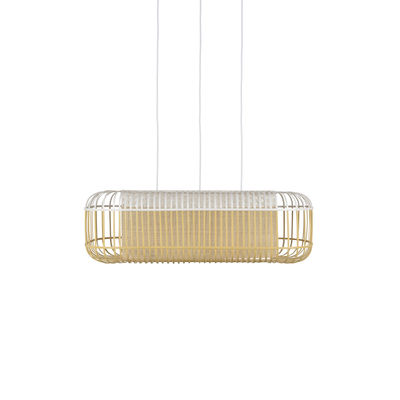 Suspension Bamboo Oval / Large -78 x 45 x H 24 cm - Forestier blanc,bambou naturel en bois