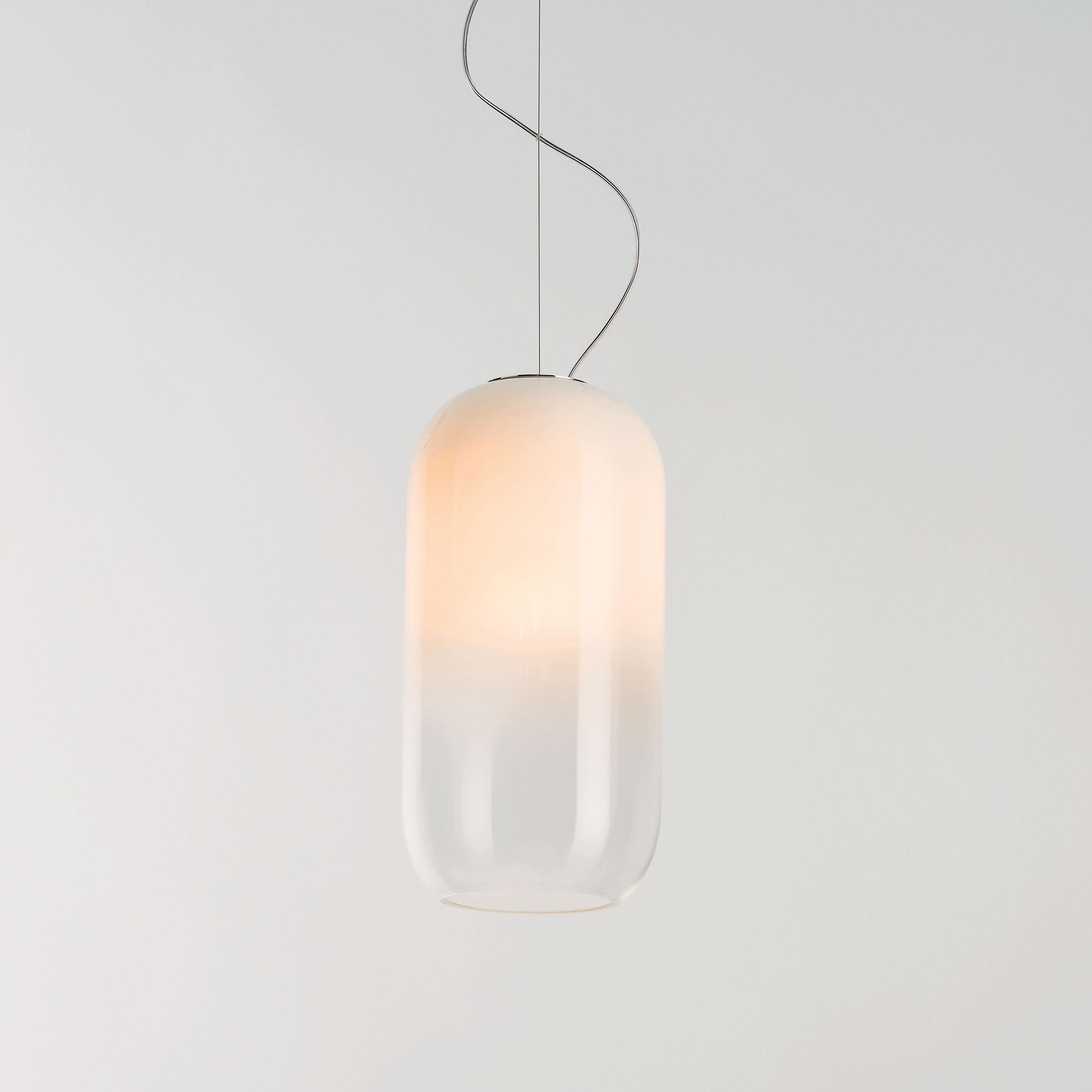 Luminaire - Suspensions - Suspension Gople LED RWB / Favorise la croissance des plantes - Artemide - Blanc / Dégradé transparent - Aluminium, Verre soufflé
