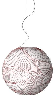 Luminaire - Suspensions - Suspension Planet Large / Ø 80 cm - Halogène - Foscarini - Blanc & coutures rouges / Halogène - Tissu