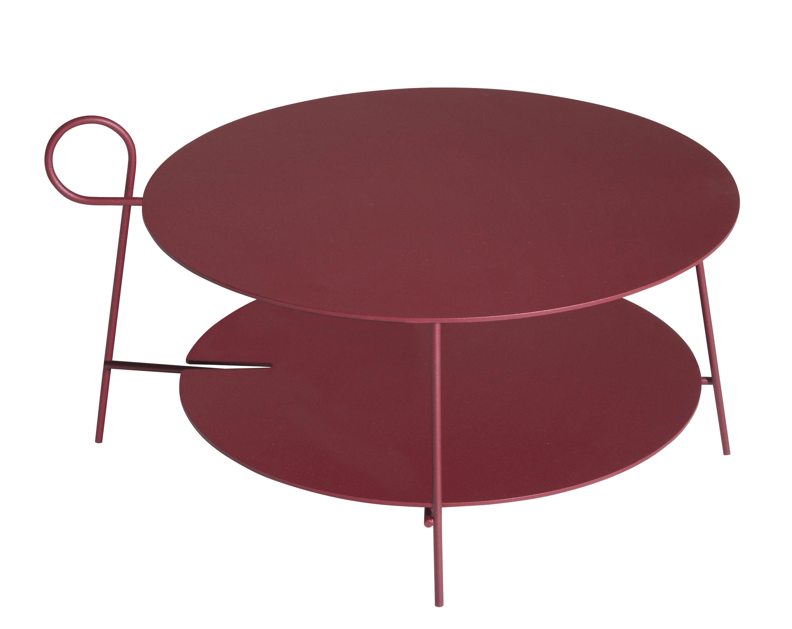Mobilier - Tables basses - Table basse Carmina / Ø 70 x H 43 cm - Driade - Bordeaux - Acier, Aluminium époxy